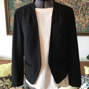 ANN TAYLOR LOFT Black v-neck crepe Blazer S